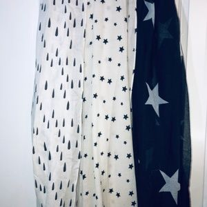 Set of 3 Black And White Star Print Scarf